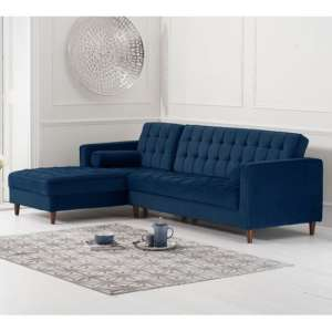 Anneliese Velvet Left Facing Corner Chaise Sofa In Blue