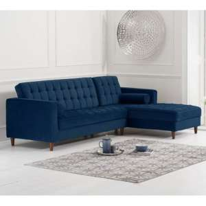 Anneliese Velvet Right Facing Corner Chaise Sofa In Blue
