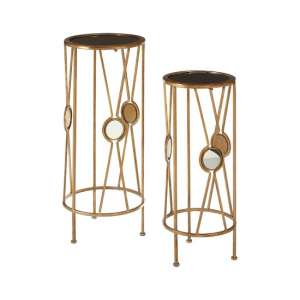 Annie Glass Set Of 2 Plant Stand In Black And Gold