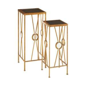 Annie X Design Set Of 2 Glass Plant Stands In Black And Gold