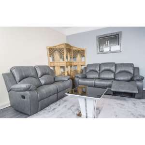 Antasia Bonded Leather 3 And 2 Seater Sofa Set in Grey