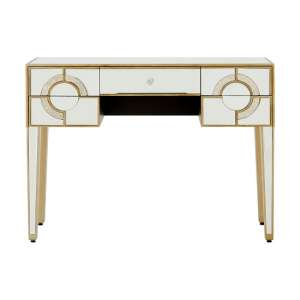 Antibes Mirrored Glass Console Table With 5 Drawers
