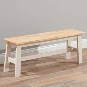 Antlia Wooden Large Dining Bench In Oak And Cream