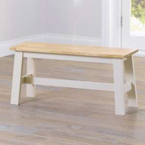 Antlia Wooden Small Dining Bench In Oak And Cream