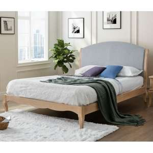 Antoinette Wooden Super King Size Bed In Oak And Grey Fabric