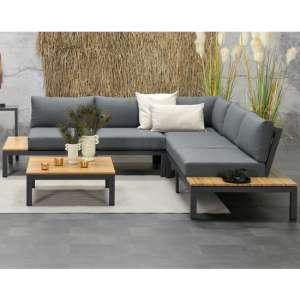 Antostick Corner Sofa With Coffee Table In Carbon Black And Teak