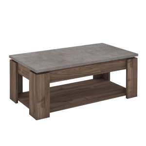Antox Wooden Coffee Table In Walnut And Light Concrete