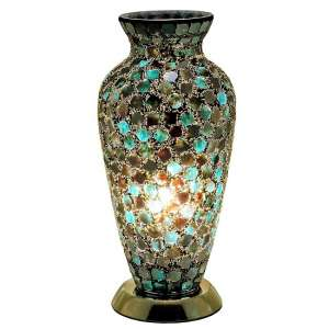 Apollo Mosaic Glass Vase Table Lamp In Green