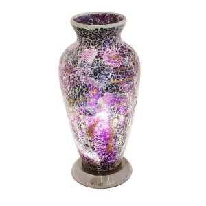 Apollo Mosaic Glass Vase Table Lamp In Purple