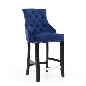 Appleby Bar Chair In Brushed Velvet Ocean Blue With Wooden Legs