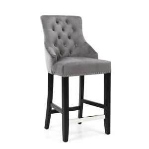 Appleby Bar Chair In Brushed Velvet Grey With Wooden Legs