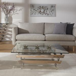 Aqua Glass Coffee Table Square And Polished Stainless Steel Base