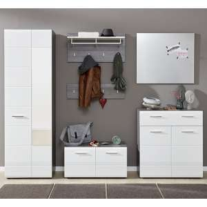 Aquila Hallway Furniture Set In White Gloss And Smoky Silver