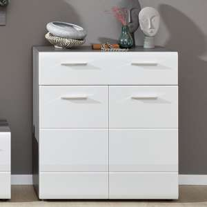 Aquila Shoe Storage Cabinet In White Gloss And Smoky Silver
