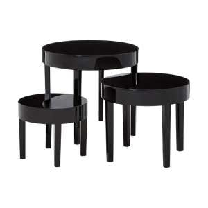 Aralyn Nest Of 3 Tables Round In Black High Gloss