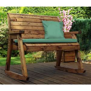 Arato 2 Seater Rocking Bench With Green Cushion