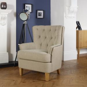 Arcadia Fabric Lounge Chair In Mink With Light Wooden Legs