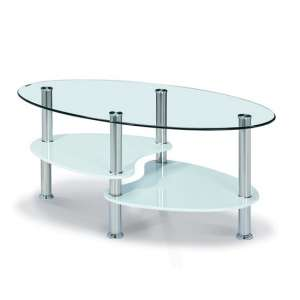 Archet Glass Coffee Table In Clear With White Gloss Shelves