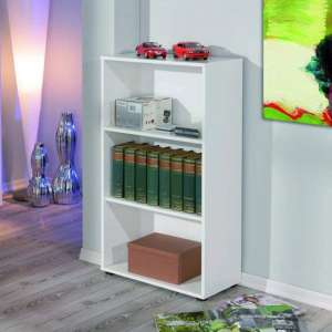 Arco Wooden Bookcase In White With 2 Shelves