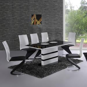 Arctica White Extending Black Glass Dining Table And 6 Chairs