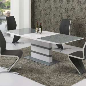 Arctica Large Extending Dining Table In Grey And White Gloss
