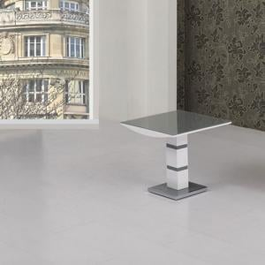 Arctica Glass Lamp Table Square In Grey With White High Gloss