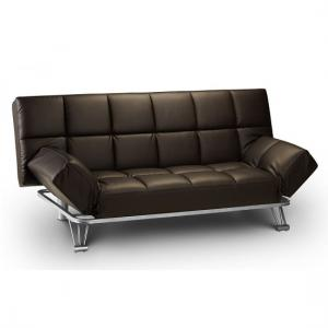 Arden Sofa Bed In Brown Faux Leather With Steel Frame