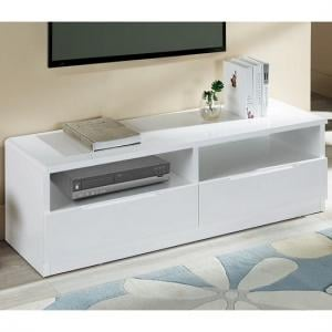 Arden Modern TV Stand In White High Gloss With 2 Drawers