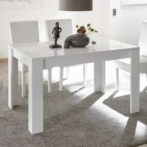Ardent Contemporary Dining Table Rectangular In White High Gloss