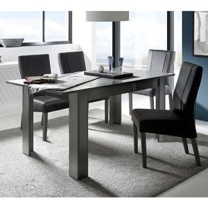 Ardent Extending Dining Table In Grey Gloss With 6 Miko Chairs