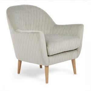 Ardoise Fabric Lounge Chair In Silver Velvet With Wooden Legs