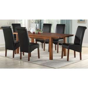 Areli Acacia Wood Extending Dining Set With 4 Black Sika Chairs
