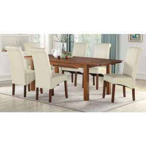 Areli Acacia Wood Extending Dining Set With 4 Cream Sika Chairs