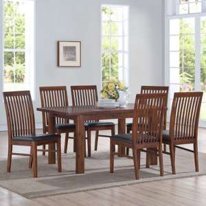 Areli Acacia Wood Extending Dining Set With 4 Solaris Chairs