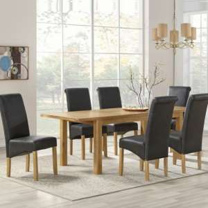 Areli Large Dining Table In Washed Oak With Six Dining Chairs