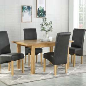 Areli Small Dining Table In Washed Oak With Four Dining Chairs