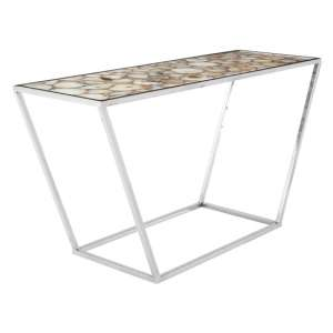 Arenza White Agate Top Console Table With Gold Metal Frame