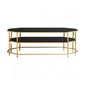 Arezza Black Tempered Glass Coffee Table With Gold Frame