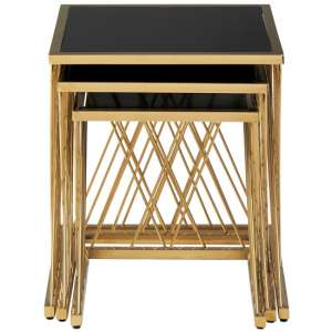 Arezza Set Of 3 Glass Nesting Tables In Black And Gold