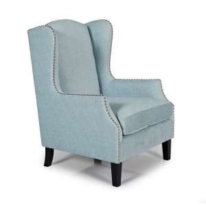 Argyle Fabric Lounge Chair In Duckegg With Wooden Legs