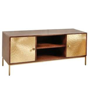 Arielle TV Stand In Dark Wood With 2 Gold Metal Doors