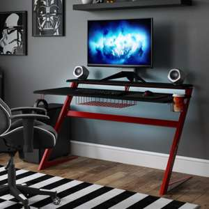 Aries Carbon Fibre Effect Gaming Desk In Black And Red