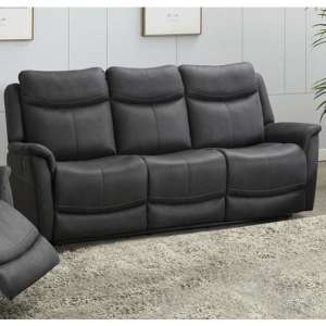 Arizona Fabric 3 Seater Fixed Sofa In Slate