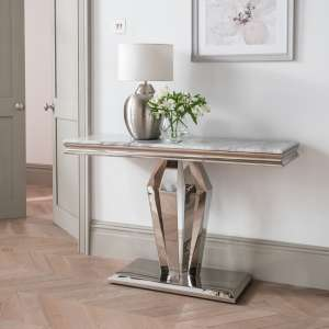 Arlesey Marble Console Table In Grey With Stainless Steel Legs