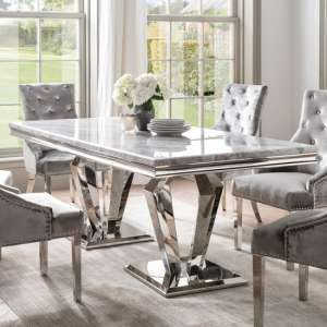 Arlesey Marble Dining Table In Grey With Stainless Steel Legs