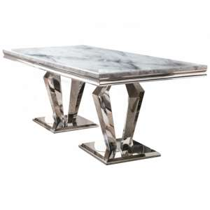 Arlesey Medium Marble Dining Table In Grey With Polished Legs