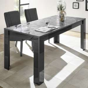 Arlon Modern Dining Table Rectangular In Grey High Gloss