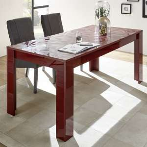 Arlon Modern Dining Table Rectangular In Red High Gloss