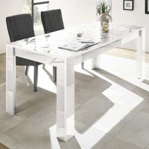 Arlon Modern Dining Table Rectangular In White High Gloss
