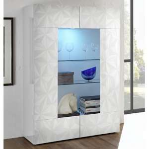 Arlon Display Cabinet In White High Gloss With 2 Doors And LED